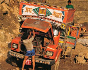 Brightly-painted broken-down truck at the village of Melemchi in the Helambu region of central Nepal